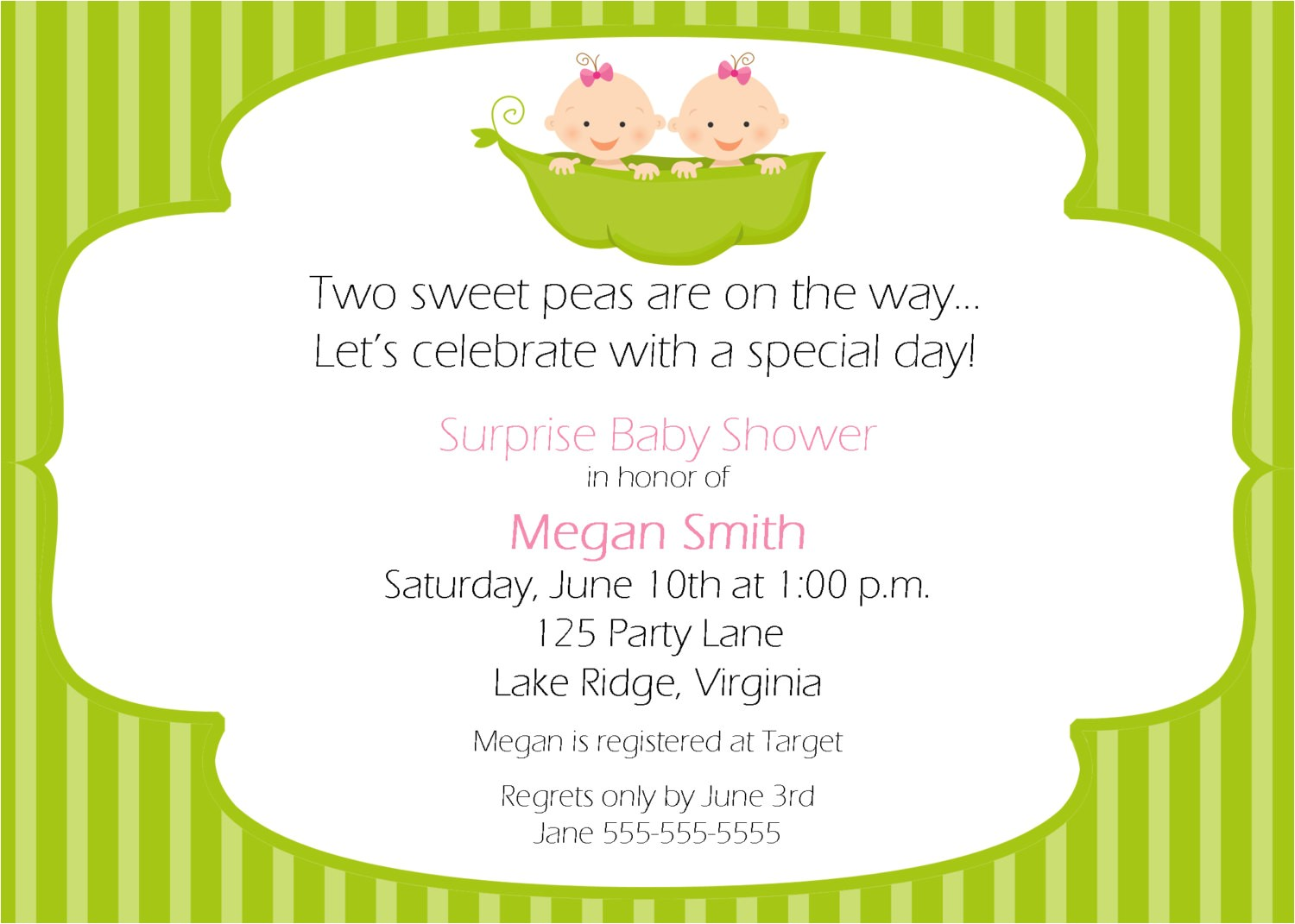 Two Peas In A Pod Baby Shower Invitations for Twins Two Peas In A Pod Baby Shower theme Ideas for Twin
