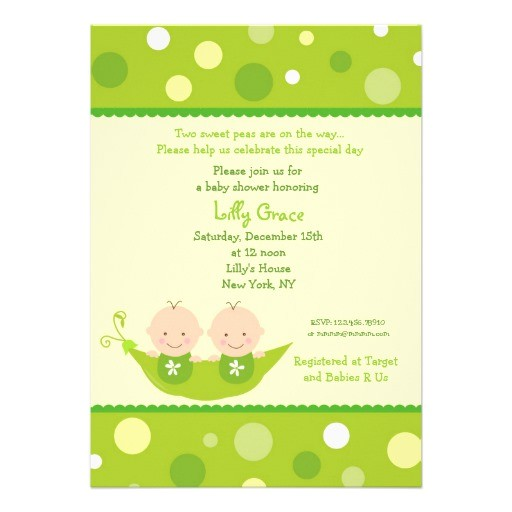 two peas in a pod twins baby shower invitations