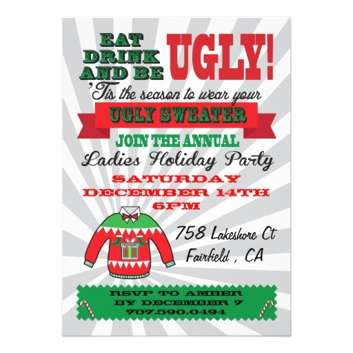 ugly sweater christmas party invitations 161820759158970129