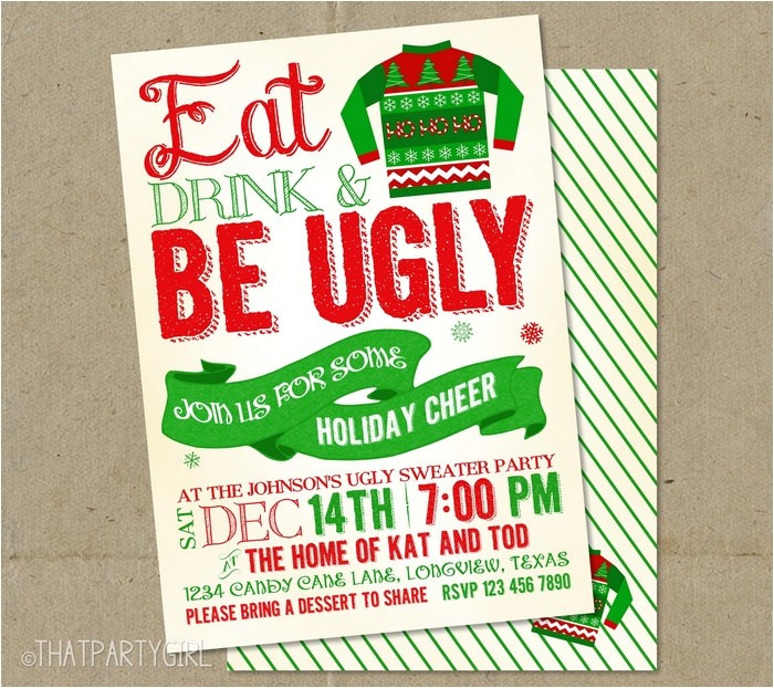 Ugly Christmas Sweater Party Invites Ugly Sweater Invitations Christmas Party Diy