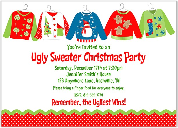 Ugly Sweater Party Invites Wording Lady Scribes Tis the Season for Ugly Sweaters