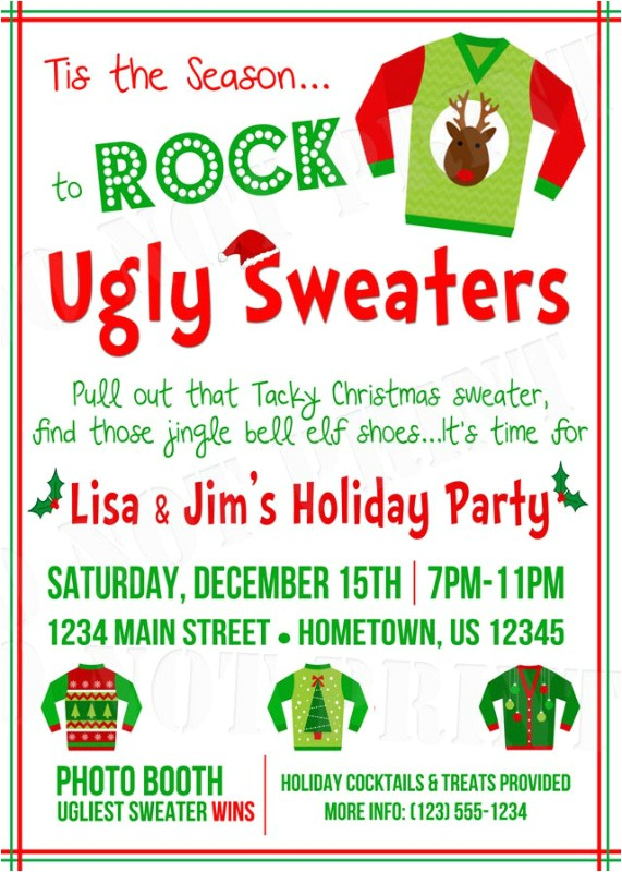ugly christmas sweater invitation wording