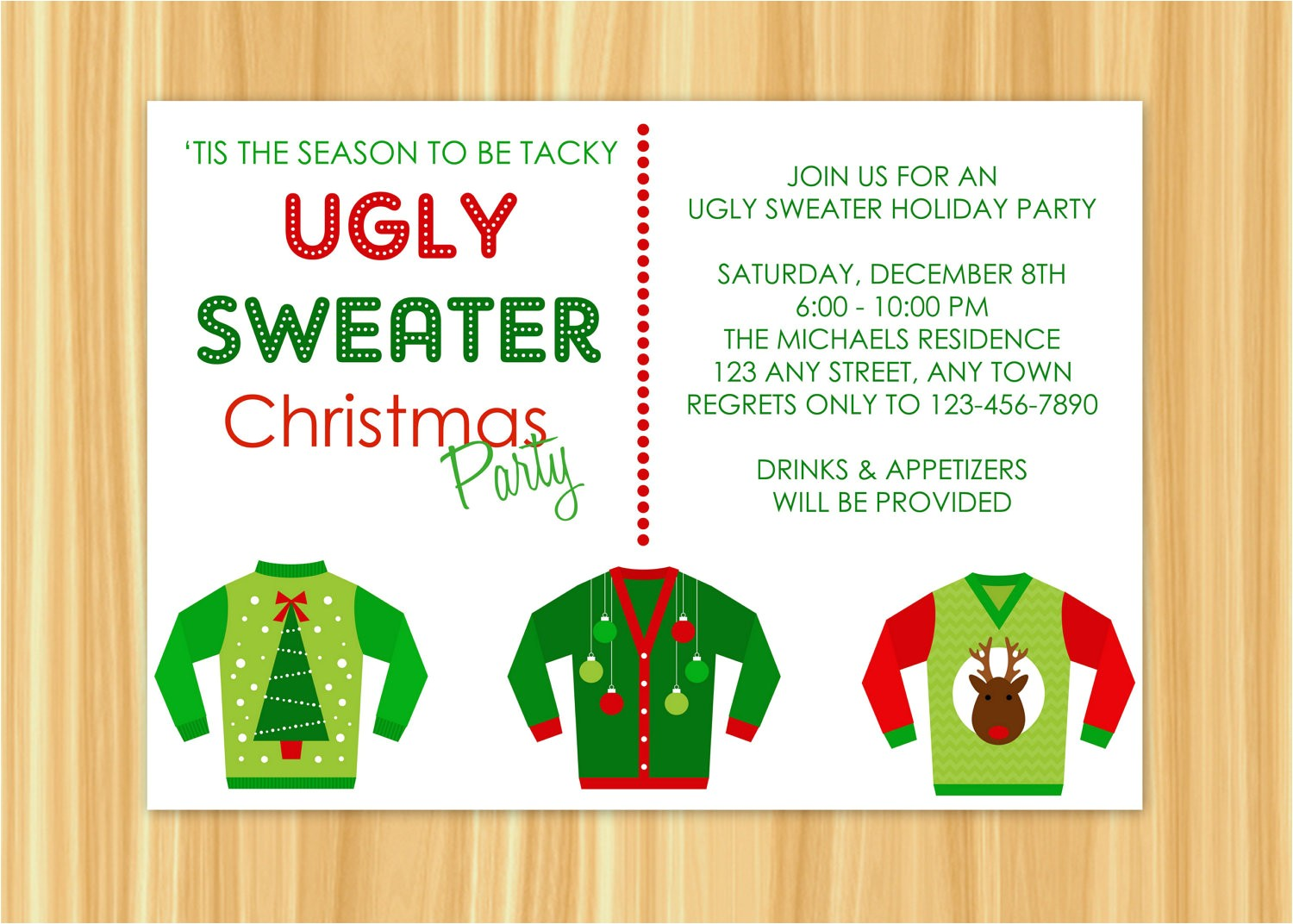 ugly sweater christmas party invitations