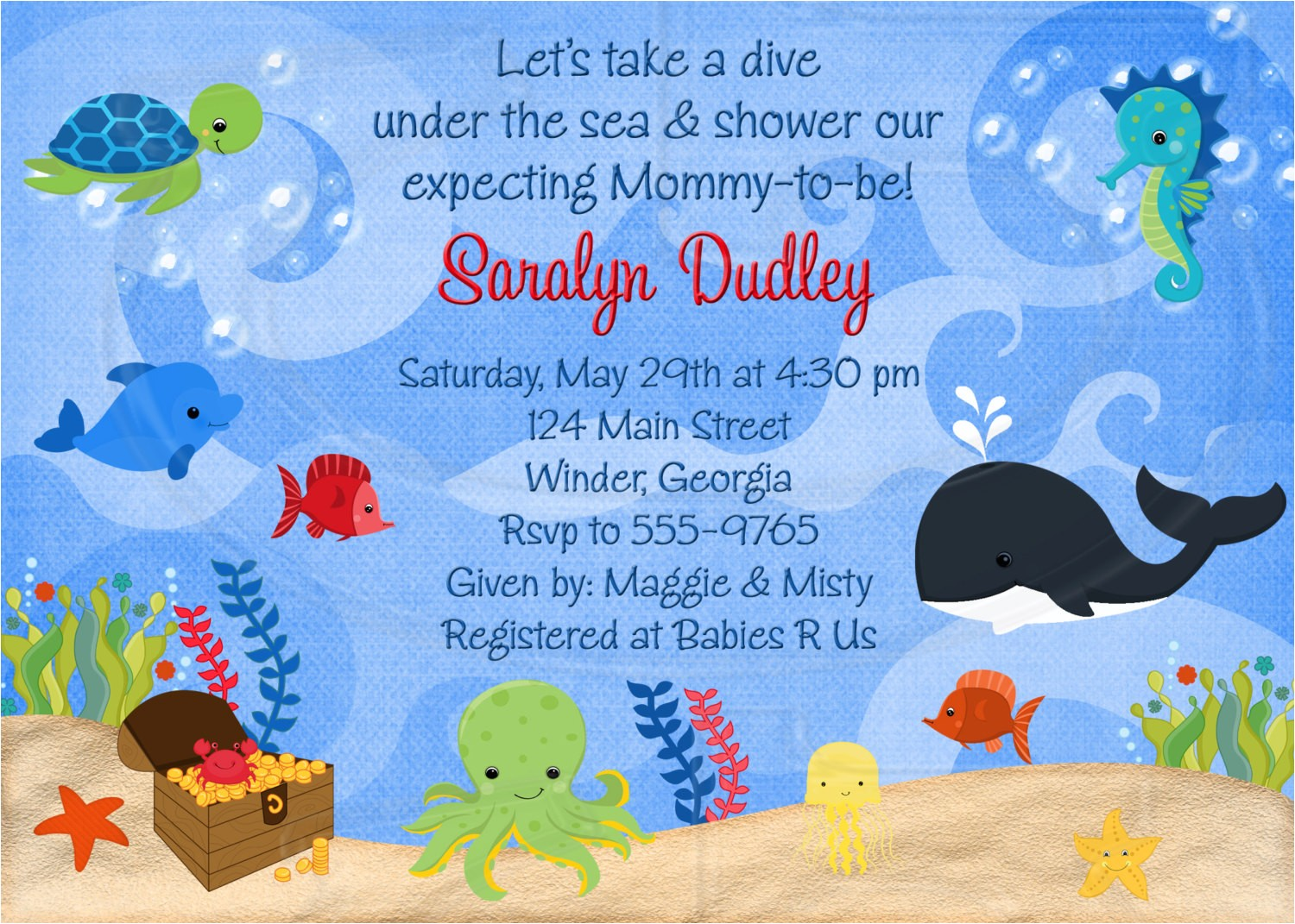 ocean themed baby shower invitations
