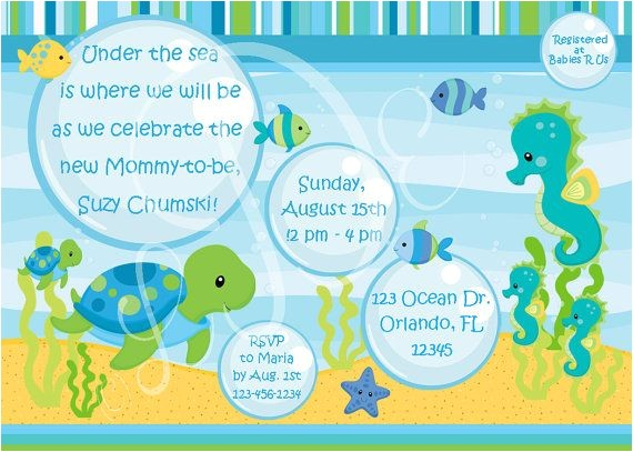 under the sea baby shower invitations template