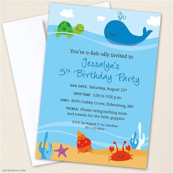 sea party custom invitations printable file
