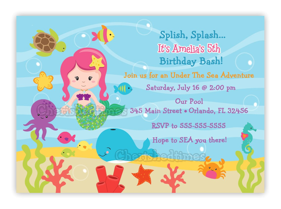 under the sea birthday invitation choose