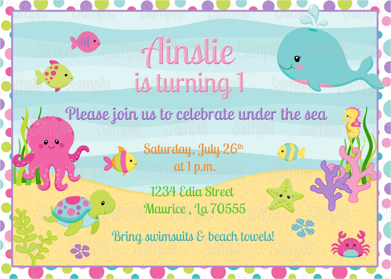 printable girl under the sea birthday