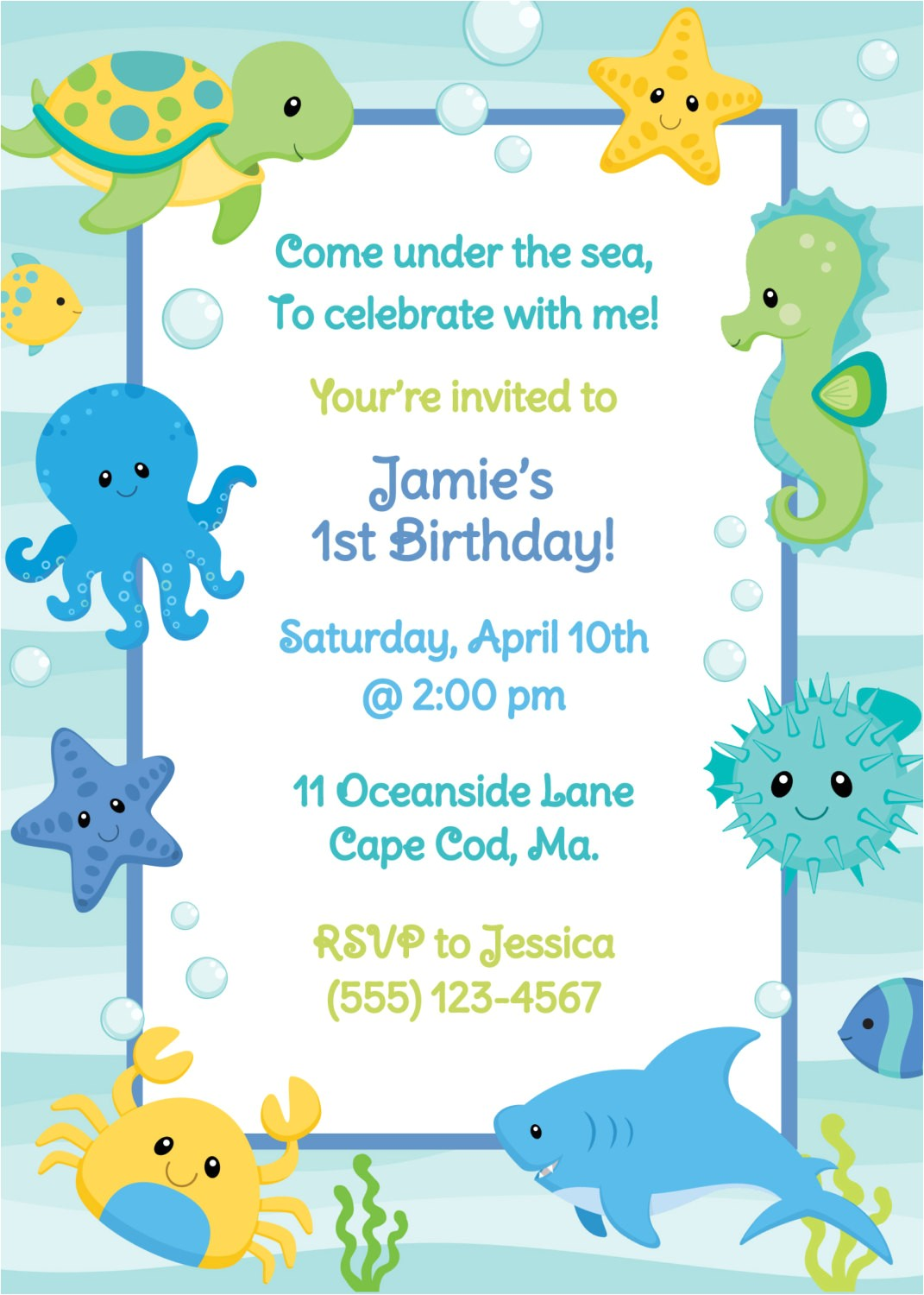 under the sea birthday invitation boy