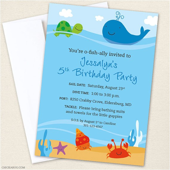 sea party custom invitations printable file
