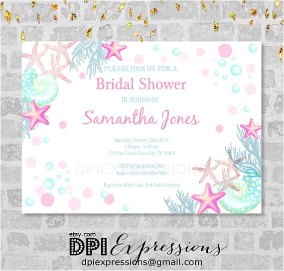 beach bridal shower invitation sea
