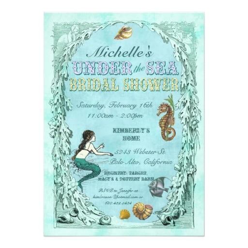 under the sea mermaid bridal shower invitation