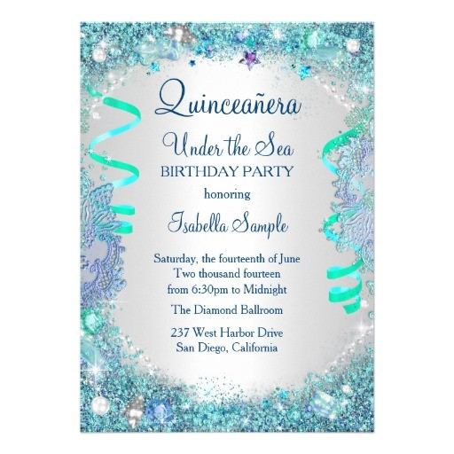 blue under the sea quinceanera 15th birthday party card 256497912391836424