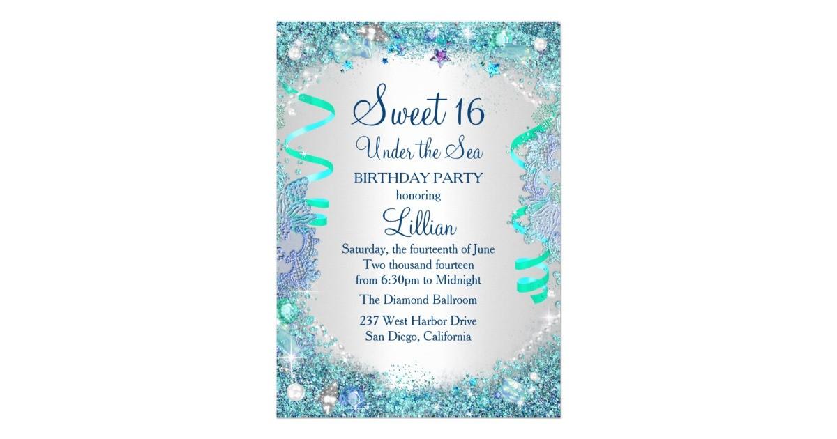 blue under the sea sweet 16 invitation 256737830333399789