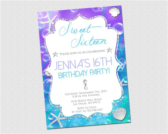 Under the Sea Quinceanera Invitations Sweet 16 Birthday Invitation Under the Sea by