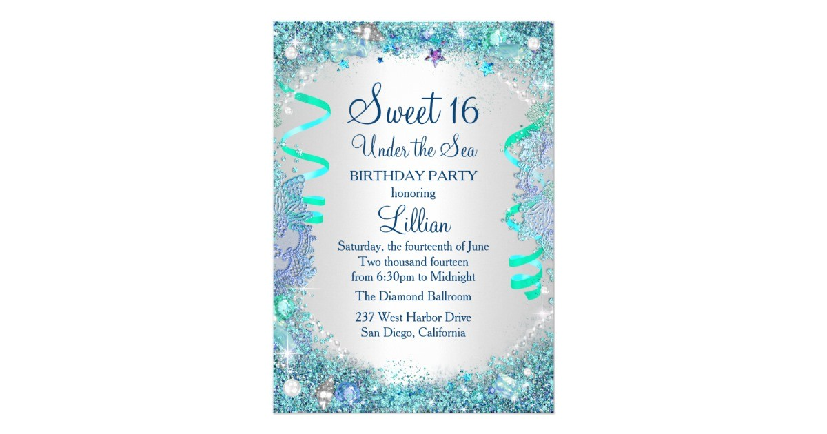 blue under the sea sweet 16 invitation 256737830333399789