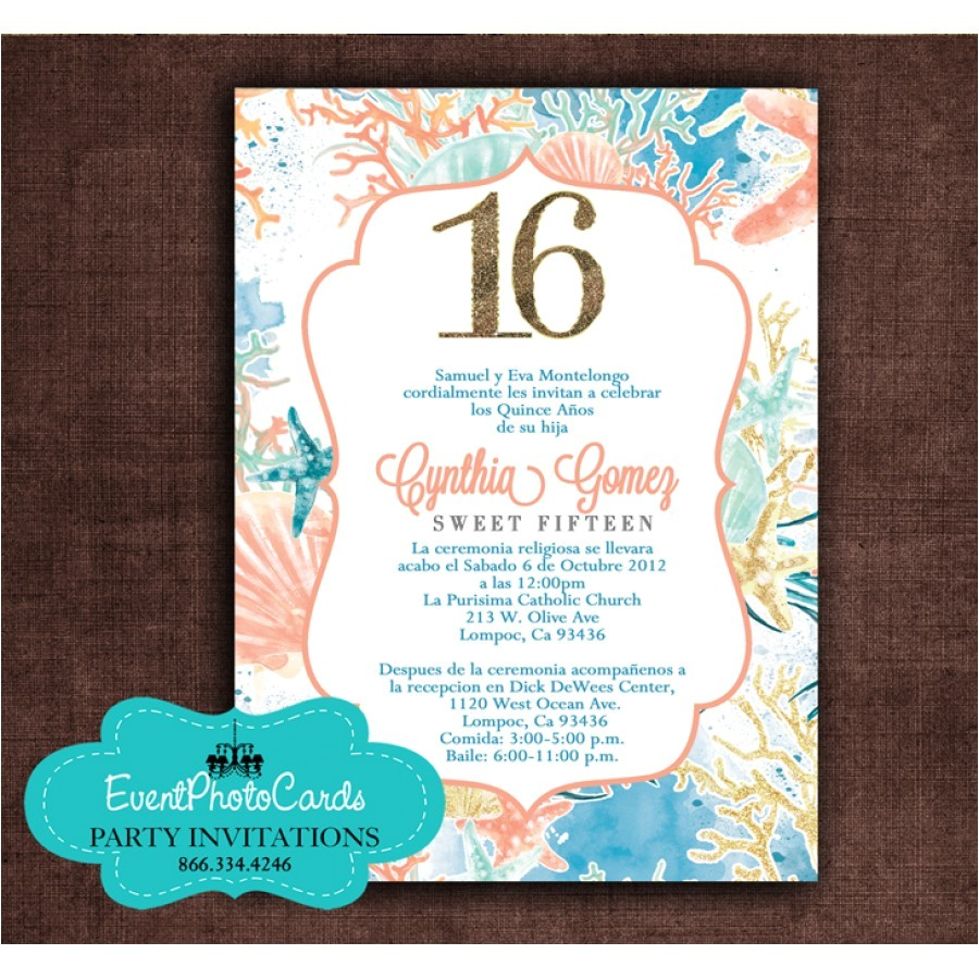 under the sea sweet 16 invitations beach
