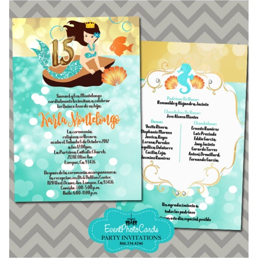 under the sea theme quinceanera invitations