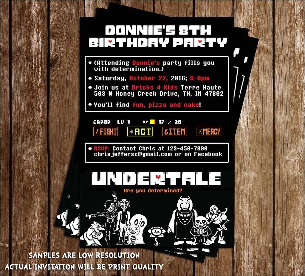 undertale video game birthday invitation 1