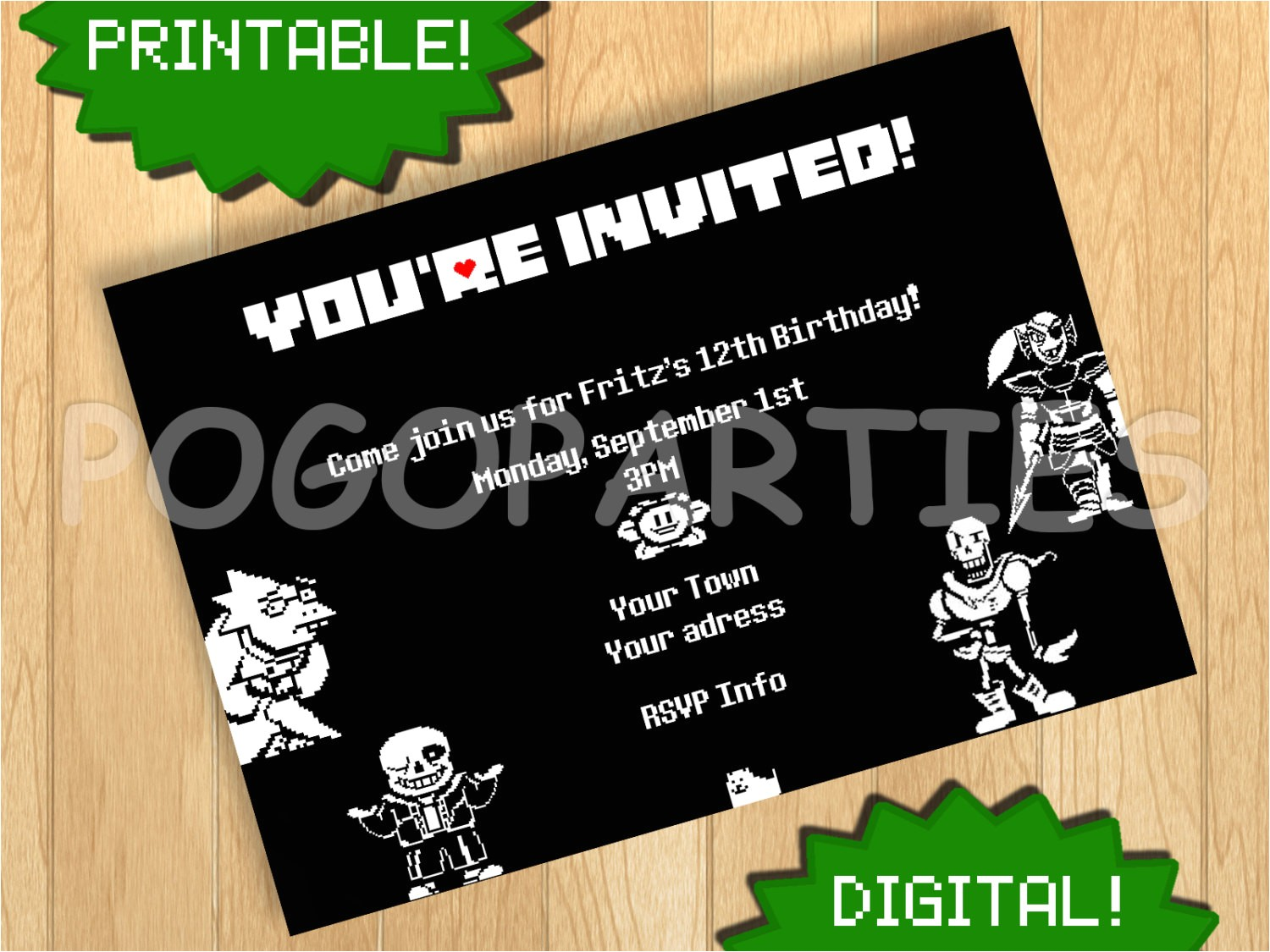 Undertale Birthday Invitations Printable Undertale Custom Personalized Monster by Pogoparties
