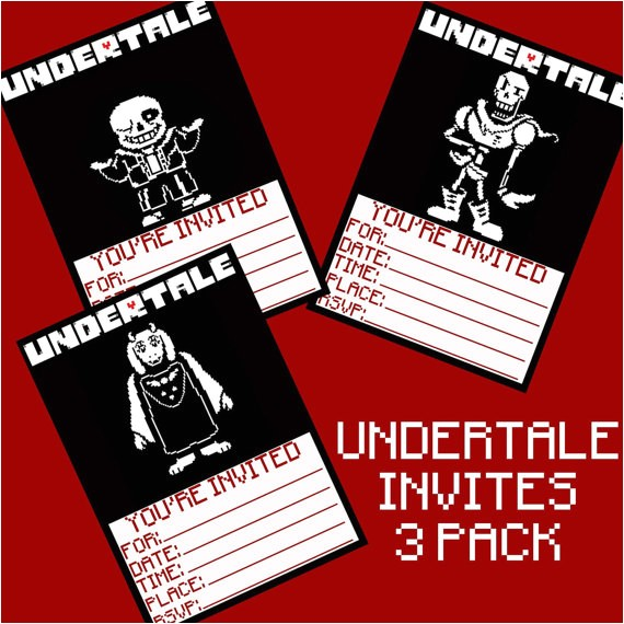 undertale birthday invitations 3 pack