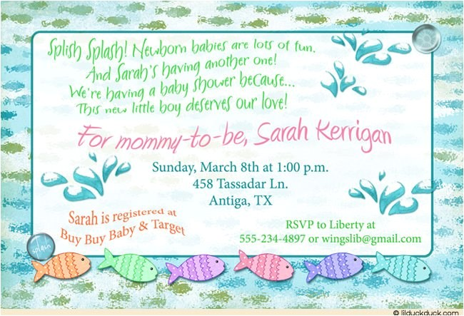 underwater fish baby shower invitation