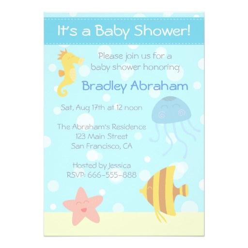 underwater theme baby shower invite