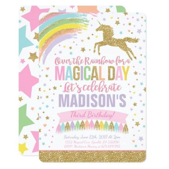unicorn birthday invitation pink gold unicorn 256988797773447888