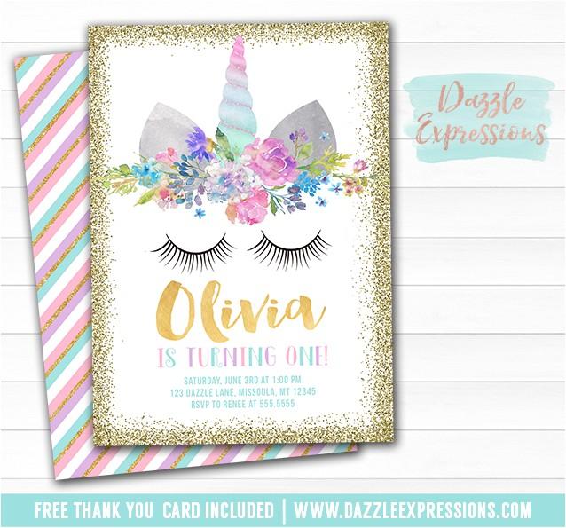 Unicorn Birthday Invitation 8 FREE thank you card included