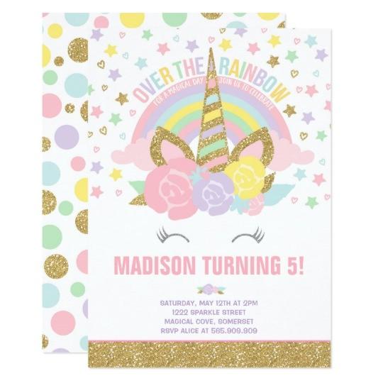 rainbow unicorn birthday invitation pink gold 256769841827153962