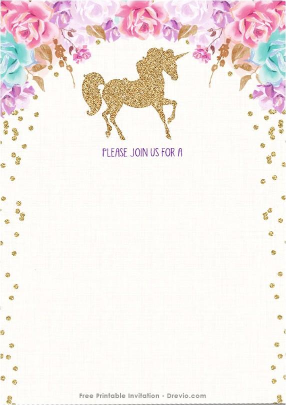 free printable golden unicorn birthday invitation template