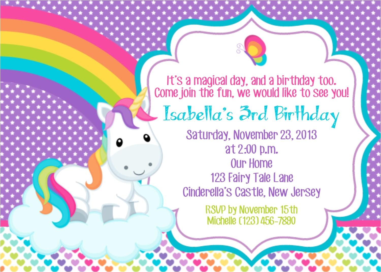 unicorn invitation personalized custom