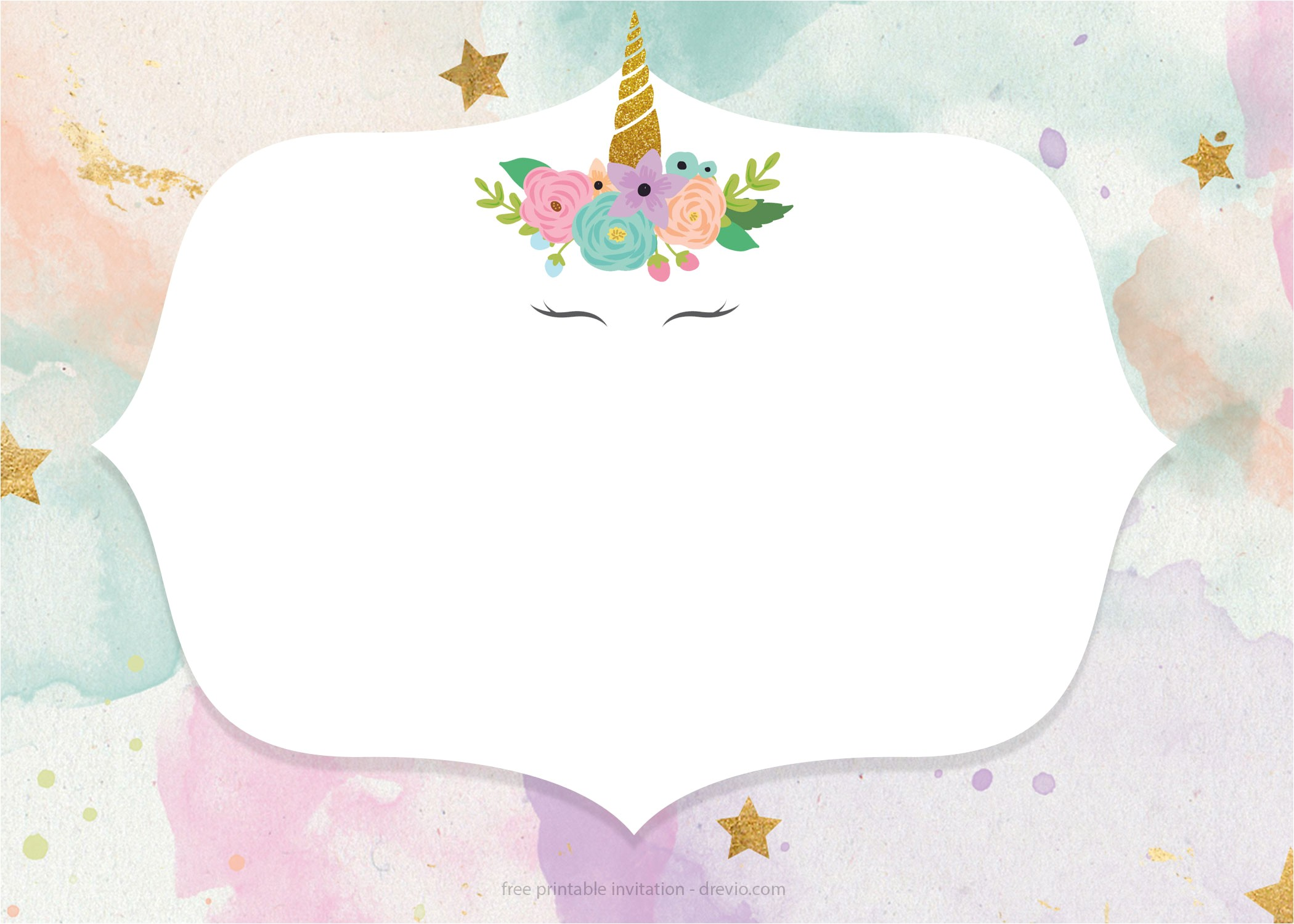 free whimsical pastel unicorn birthday invitation templates