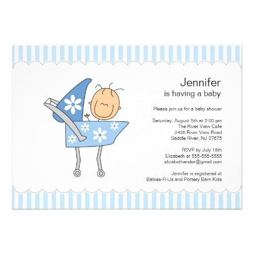 unique baby carriage boy baby shower invitation