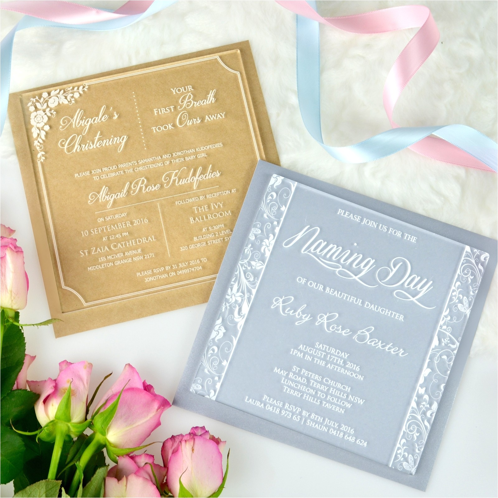engraved square acrylic christening invitations