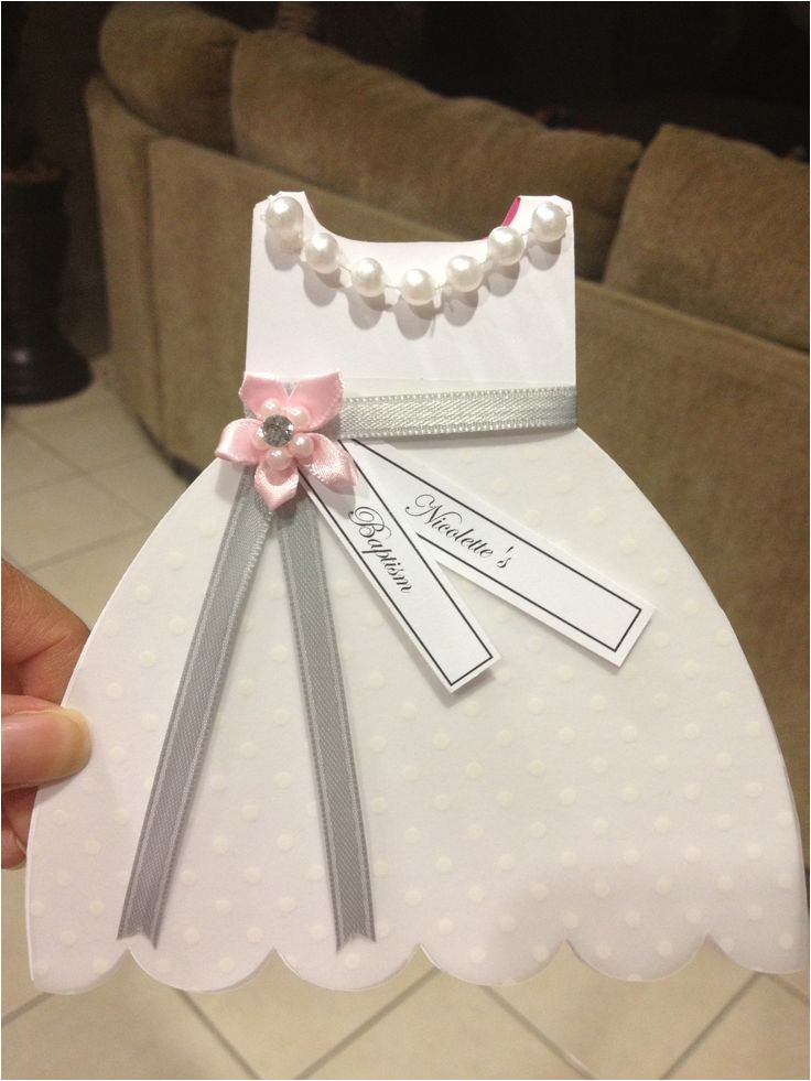 Unique Baptismal Invitation for Baby Girl Baptism Christening Gown Dress Cutout Invitation Inquire