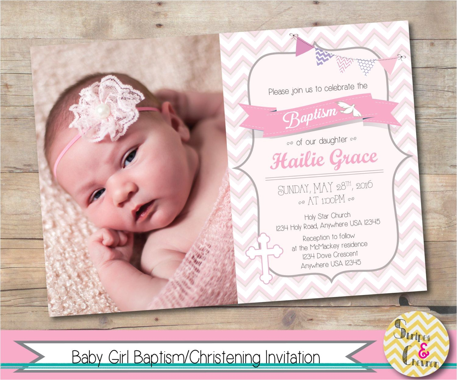 Unique Baptismal Invitation for Baby Girl Girl Baptism Invitation Christening Invite Personalized