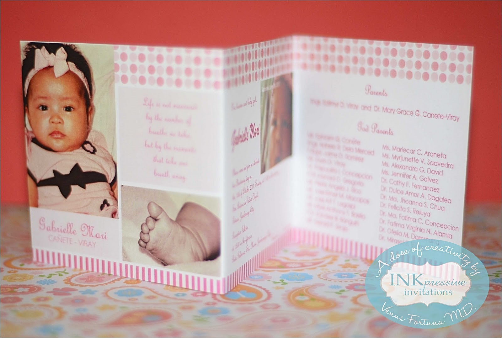 christening invitation trifold dots and