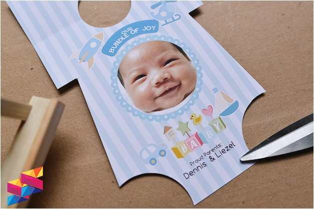 lance onesie baptismal invitation