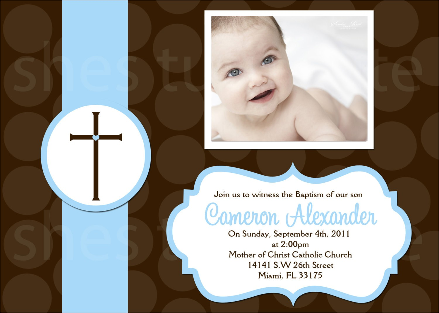 boys baptism invitations digital file