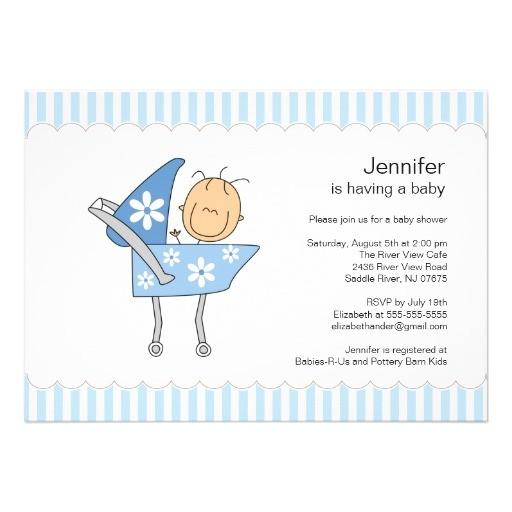 unique baby carriage boy baby shower invitation