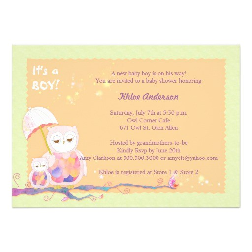 unique sweet owls baby boy baby shower invites