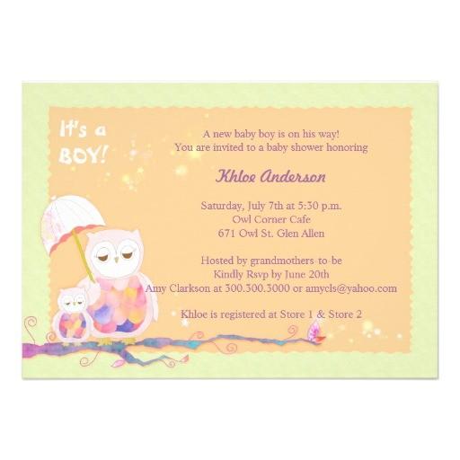 unique sweet owls baby boy baby shower invites