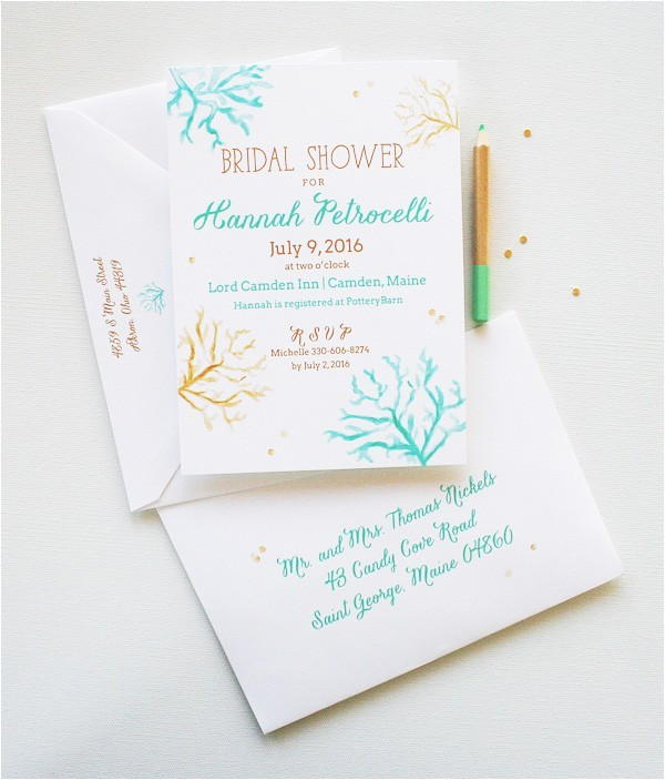 bridal shower invitation wording beach