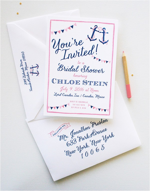 bridal shower invitations with a beach theme