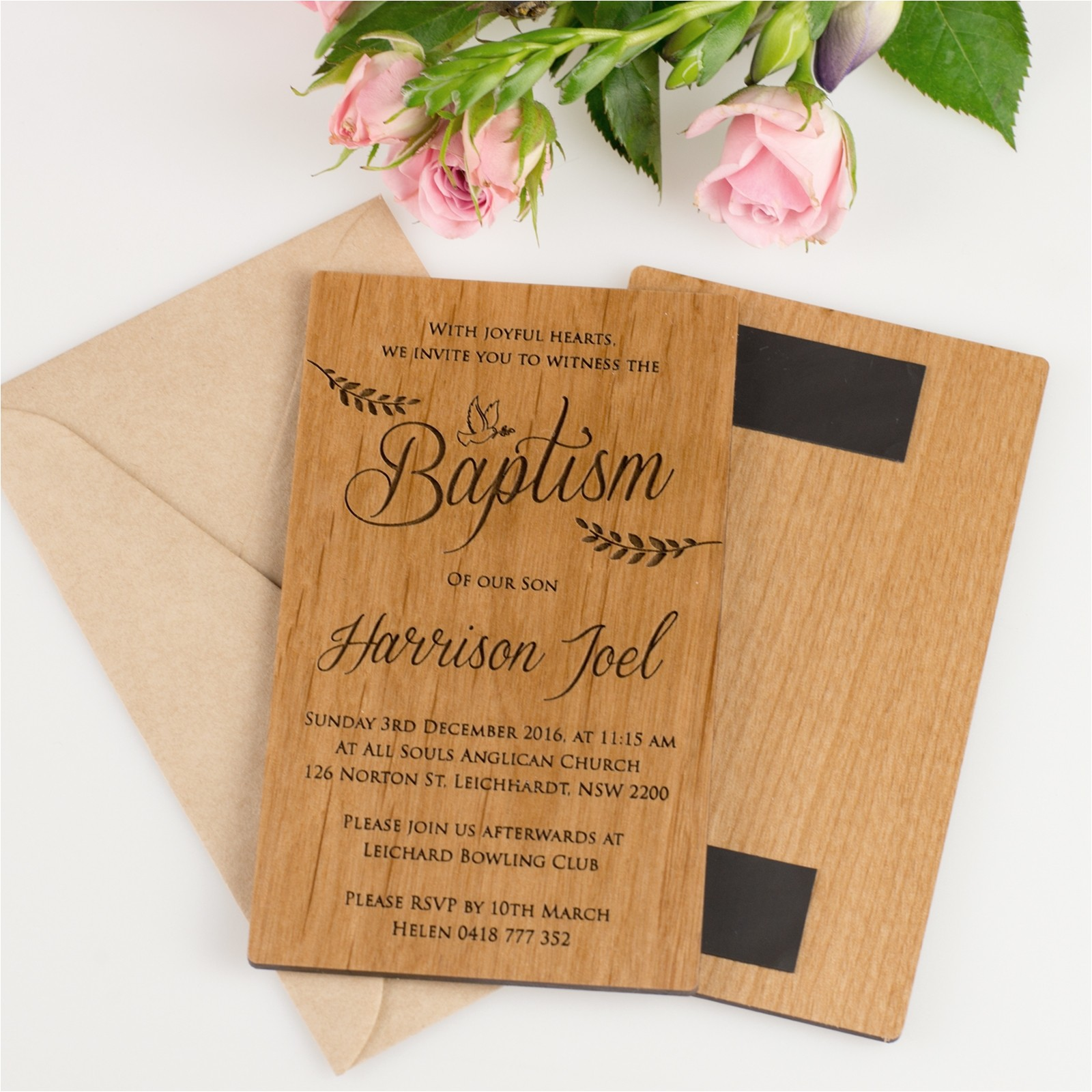 11b engraved wooden christening invitations