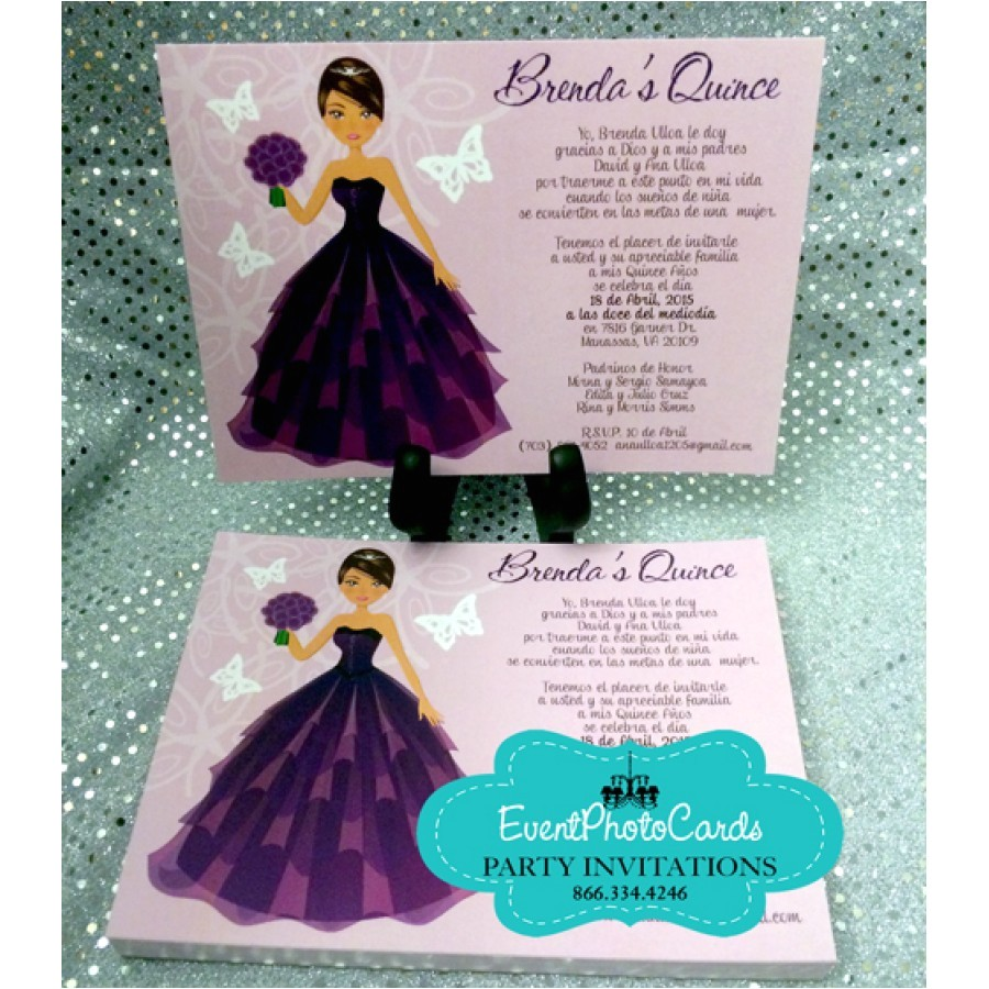 purple unique quinceanera invitation cards