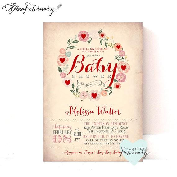 valentine baby shower invitation baby