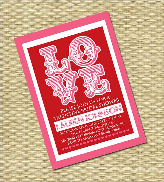 valentines day love bridal shower invitation
