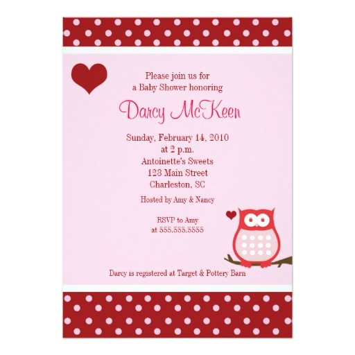 owl valentines day heart baby shower invitation